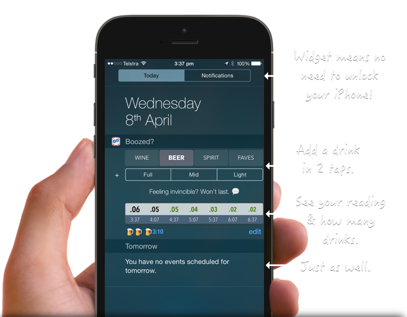 Boozed? An iPhone Widget for easy blood alcohol calculations.